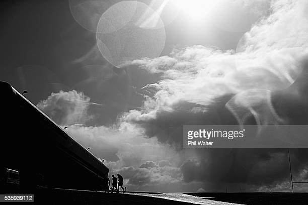 The All Blacks leave training following a New Zealand All Blacks training session at Trusts Stadium on May 31 2016 in Auckland New Zealand