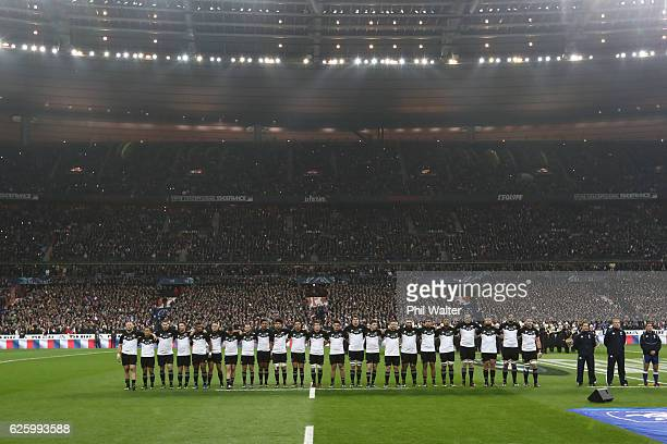 The All Blacks line up for the anthem during the international rugby match between France and New Zealand at Stade de France on November 26 2016 in...