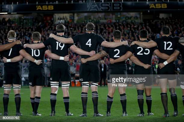 The All Blacks line up for the anthem during the Test match between the New Zealand All Blacks and the British Irish Lions at Eden Park on June 24...