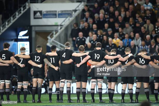 The All Blacks line up for the anthems during The Rugby Championship Bledisloe Cup match between the New Zealand All Blacks and the Australia...