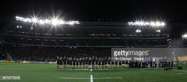 The All Blacks line up for the national anthem during the New Zealand V Australia Semi Final match at the IRB Rugby World Cup tournament Eden Park...