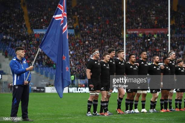 The All Blacks line up for the National Anthem during the International Rugby match between the New Zealand All Blacks and Italy at Stadio Olimpico...