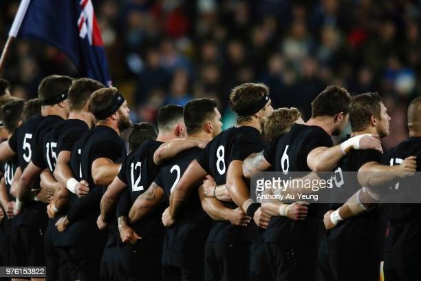 The All Blacks line up for the national anthem during the International Test match between the New Zealand All Blacks and France at Westpac Stadium...