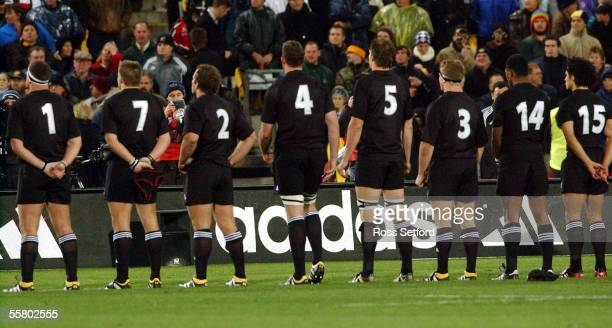 The All Blacks line up for the national anthem prior to the rugby test against England at Westpac Stadium Wellington Saturday England won 1513