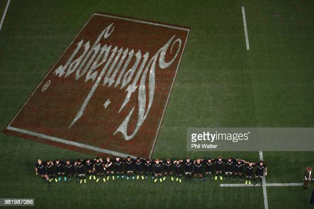 The All Blacks line up for the National Anthems during the International Test match between the New Zealand All Blacks and France at Forsyth Barr...