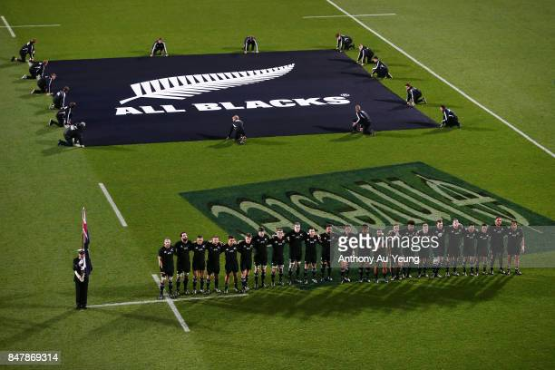 The All Blacks lineup for the national anthem during the Rugby Championship match between the New Zealand All Blacks and the South African Springboks...
