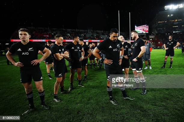 The All Blacks look on after drawing the Test match between the New Zealand All Blacks and the British Irish Lions at Eden Park on July 8 2017 in...