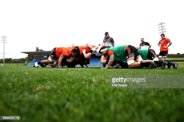 The All Blacks pack down for a scrum during a New Zealand All Blacks training session at Trusts Stadium on June 22 2017 in Auckland New Zealand
