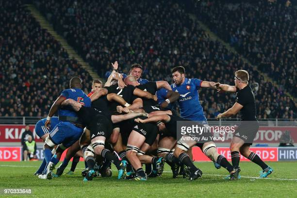 The All Blacks pack wins a scrum during the International Test match between the New Zealand All Blacks and France at Eden Park on June 9 2018 in...