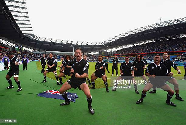 The All Blacks perform the 'haka' after victory in the New Zealand v Fiji Men's Rugby 7's Final at the City of Manchester Stadium during the 2002...