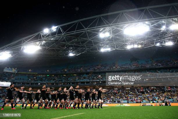 The All Blacks perform the haka ahead of the 2020 Tri-Nations and Bledisloe Cup match between the Australian Wallabies and the New Zealand All Blacks...