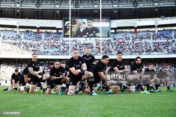 The All Blacks perform the haka ahead of the Bledisloe Cup test match between the New Zealand All Blacks and Australian Wallabies at Nissan Stadium...