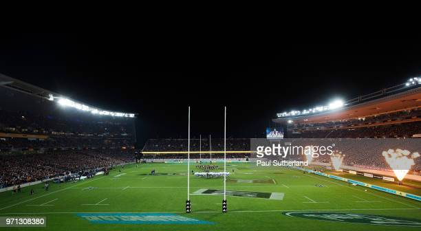 The All Blacks perform the haka ahead of the International Test match between the New Zealand All Blacks and France at Eden Park on June 9 2018 in...