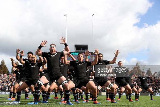 The All Blacks perform the haka ahead of the rugby Test Match between the New Zealand All Blacks and Tonga at FMG Stadium on September 07, 2019 in...