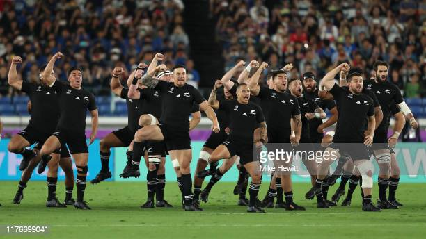 The All Blacks perform the Haka ahead of the Rugby World Cup 2019 Group B game between New Zealand and South Africa at International Stadium Yokohama...