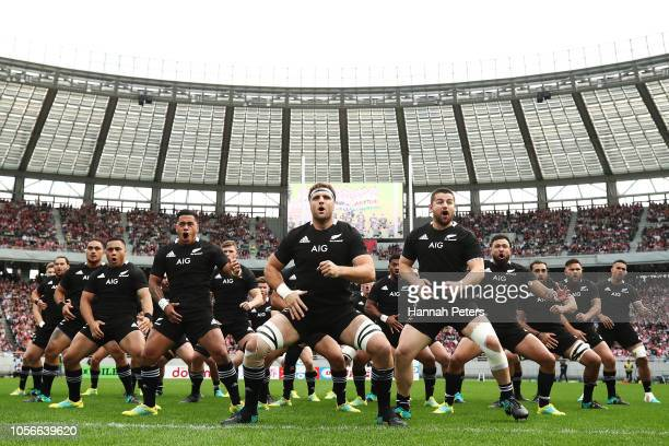 The All Blacks perform the haka ahead of the test match between Japan and New Zealand All Blacks at Tokyo Stadium on November 3 2018 in Chofu Tokyo...