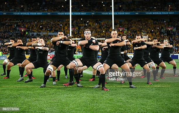 The All Blacks perform the Haka before the Bledisloe Cup Rugby Championship match between the Australian Wallabies and the New Zealand All Blacks at...