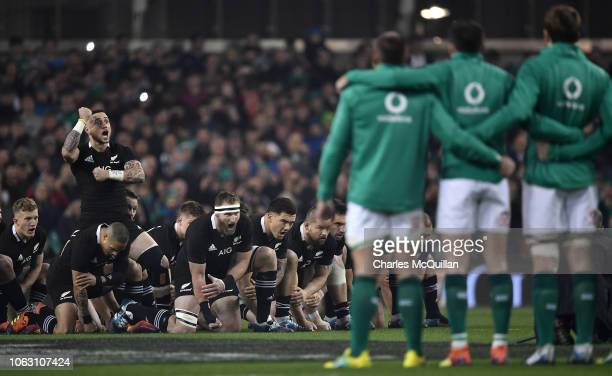 The All Blacks perform the Haka before the International Friendly rugby match between Ireland and New Zealand on November 17 2018 in Dublin Ireland
