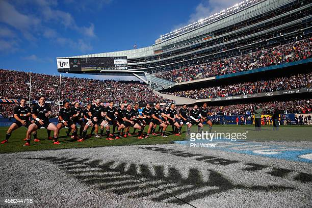The All Blacks perform the haka before the International Test Match between the United States of America and the New Zealand All Blacks at Soldier...