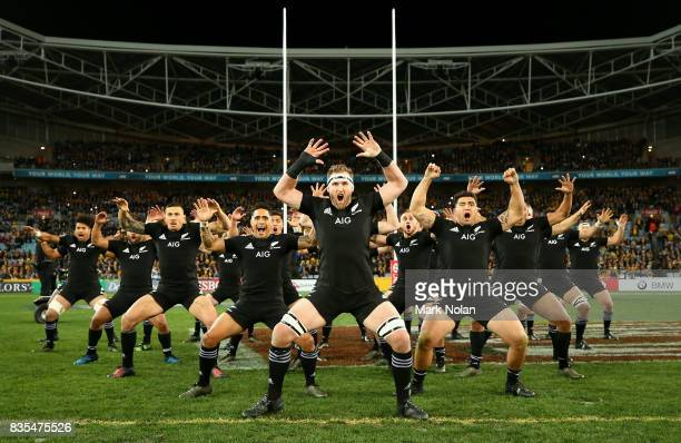 The All Blacks perform the Haka before The Rugby Championship Bledisloe Cup match between the Australian Wallabies and the New Zealand All Blacks at...