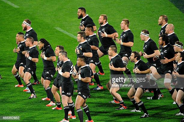 The All Blacks perform the Haka before the start of The Rugby Championship match between the New Zealand All Blacks and the South Africa Springboks...