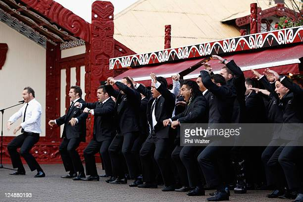 The All Blacks perform the Haka during a New Zealand All Blacks IRB Rugby World Cup 2011 welcome ceremony at Turangawaewae Marae on September 11 2011...