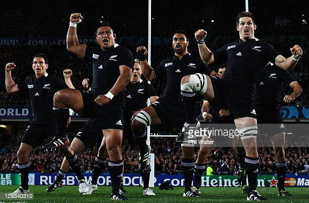 The All Blacks perform the haka during semi final two of the 2011 IRB Rugby World Cup between New Zealand and Australia at Eden Park on October 16,...