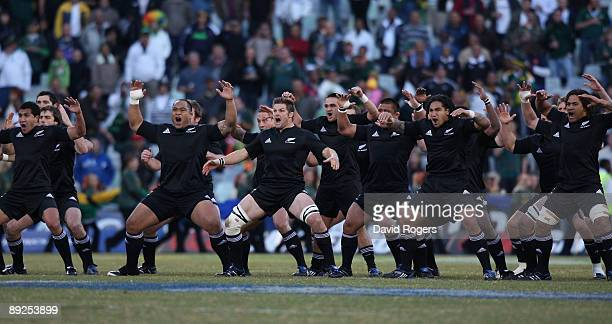 The All Blacks perform the Haka during the 2009 Tri Nations match between South Africa and the New Zealand All Blacks at Vodacom Park on July 25,...