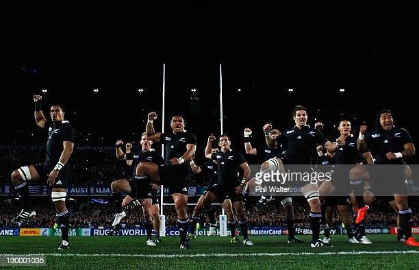 The All Blacks perform the haka during the 2011 IRB Rugby World Cup Final match between France and New Zealand at Eden Park on October 23, 2011 in...