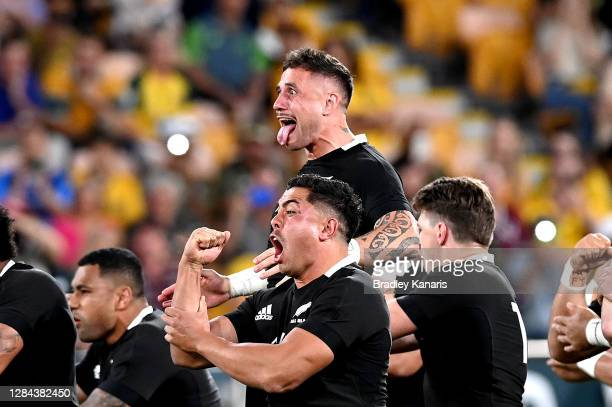 The All Blacks perform the Haka during the 2020 Tri-Nations match between the Australian Wallabies and the New Zealand All Blacks at Suncorp Stadium...