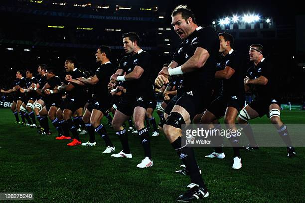 The All Blacks perform the haka during the IRB 2011 Rugby World Cup Pool A match between New Zealand and France at Eden Park on September 24 2011 in...