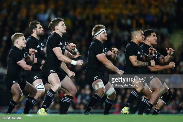 The All Blacks perform the haka during The Rugby Championship game between the New Zealand All Blacks and the Australia Wallabies at Eden Park on...