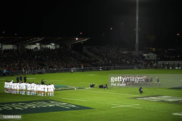 The All Blacks perform the haka during The Rugby Championship match between the New Zealand All Blacks and Argentina at Trafalgar Park on September...