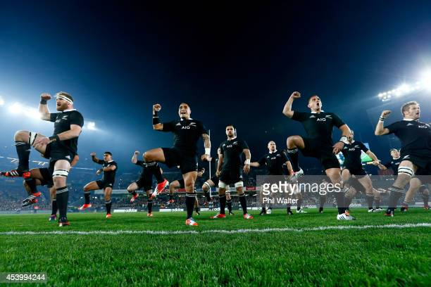 The All Blacks perform the haka during The Rugby Championship match between the New Zealand All Blacks and the Australian Wallabies at Eden Park on...