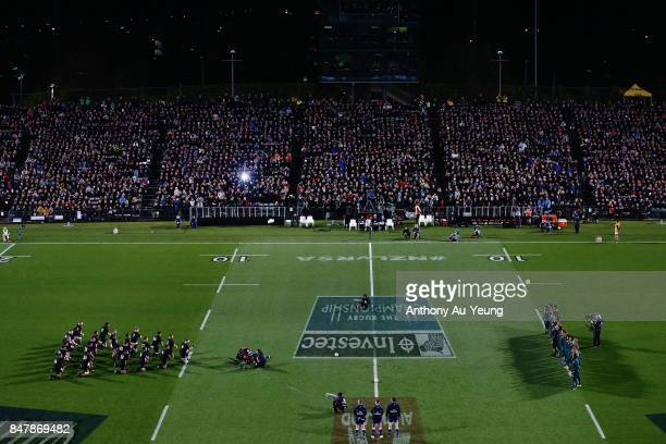 The All Blacks perform the haka during the Rugby Championship match between the New Zealand All Blacks and the South African Springboks at QBE...