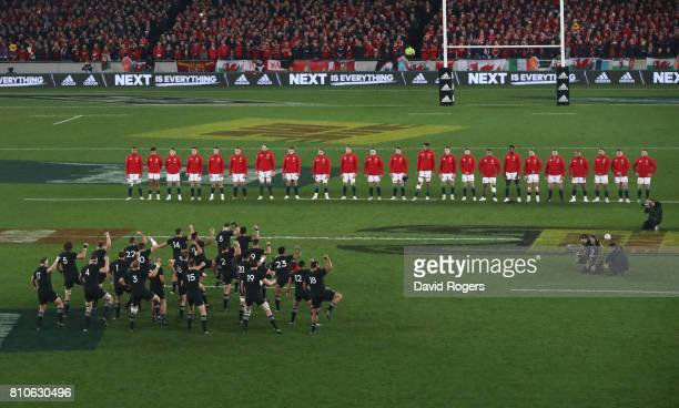 The All Blacks perform the Haka prior to kickoff during the third test match between the New Zealand All Blacks and the British Irish Lions at Eden...