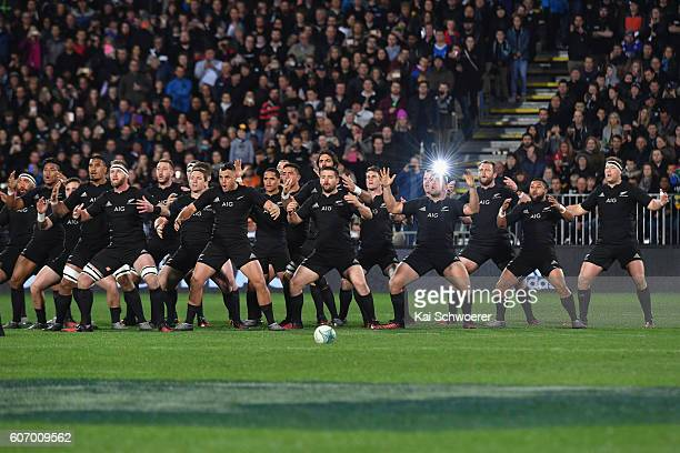 The All Blacks perform the Haka prior to the Rugby Championship match between the New Zealand All Blacks and the South Africa Springboks at AMI...
