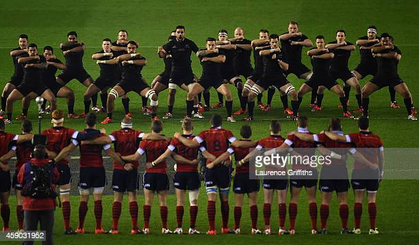 The All Blacks perform the Haka prior to the Viagogo Autumn International match between Scotland and New Zealand at Murrayfield Stadium on November...