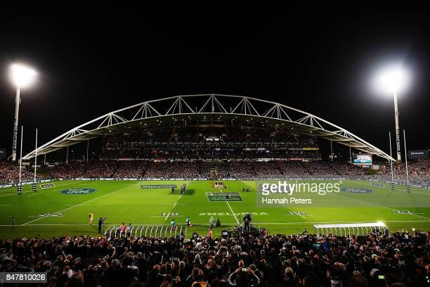 The All Blacks perform the haka the Rugby Championship match between the New Zealand All Blacks and the South African Springboks at QBE Stadium on...