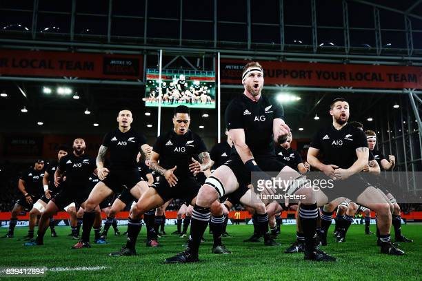 The All Blacks performs the haka ahead of The Rugby Championship Bledisloe Cup match between the New Zealand All Blacks and the Australia Wallabies...