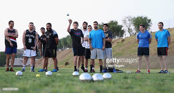 The All Blacks play a game of Pétanque during the New Zealand All Blacks activities session held at Hyde Park High School on September 29 2014 in...