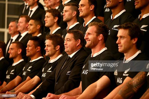 The All Blacks pose for the New Zealand All Blacks official team photo at The Heritage Hotel on June 2 2014 in Auckland New Zealand