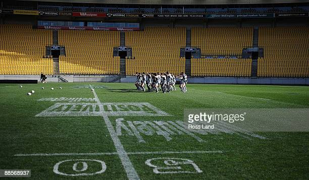 The All Blacks practice the 'Haka' during a New Zealand All Blacks captain's run at Westpac Stadium on June 19, 2009 in Wellington, New Zealand.