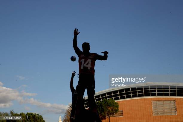 The All Blacks practice the lineout during a New Zealand All Black training session on November 22, 2018 in Rome, Italy.