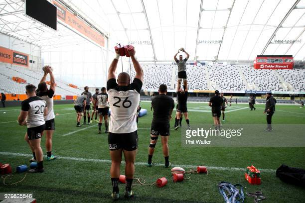 The All Blacks practice the lineout during a New Zealand All Blacks training session at Forsyth Barr Stadium on June 21 2018 in Dunedin New Zealand