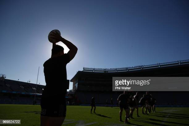 The All Blacks practice the lineout during the New Zealand All Blacks Captain's Run at Eden Park on June 8 2018 in Auckland New Zealand