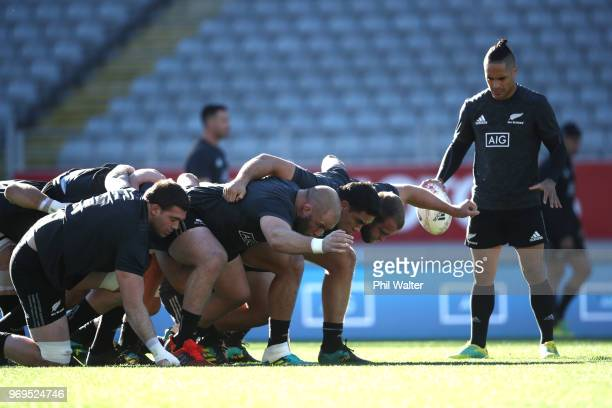 The All Blacks practice the scrum during the New Zealand All Blacks Captain's Run at Eden Park on June 8 2018 in Auckland New Zealand