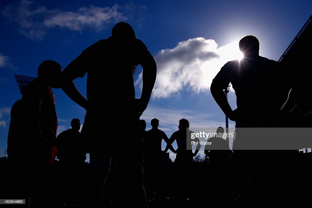 The All Blacks regroup during a New Zealand All Blacks training session at North Harbour Stadium on July 31, 2014 in Auckland, New Zealand.