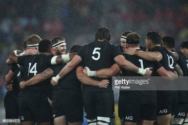 The All Blacks regroup during the International Test match between the New Zealand All Blacks and the British Irish Lions at Westpac Stadium on July...