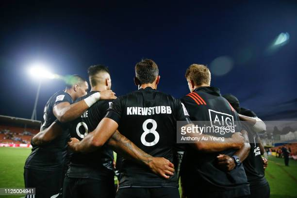 The All Blacks Sevens gather for a team huddle after day one of the 2019 Hamilton Sevens at FMG Stadium on January 26, 2019 in Hamilton, New Zealand.